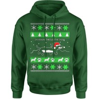 Dachshund Through The Snow Ugly Christmas Adult Hoodie Sweatshirt