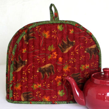Fall Tea Cozy - Quilted Tea Cozy - Bears - Magenta Red - Maple Leaves -  Teapot Cover - Insulated Tea Cozy - Thanksgiving