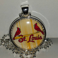 "St Louis Cardinals 1"" Pendant Necklace, free shipping, cardinals necklace"