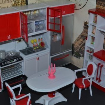 Barbie Sized Dollhouse Furniture- Modern Comfort Kitchen + Dining Room