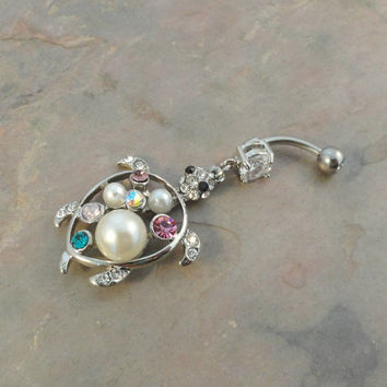 Silver Turtle Belly Button Ring Pearl Jewelry