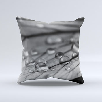 Grayscale Watered Leaf ink-Fuzed Decorative Throw Pillow