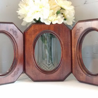 Vintage, Picture Frames, Frames, Hanging, Rustic, Wood, Rectangle, Oval Silouette, Carved, Floral Accents, Lot of Three, RhymeswithDaughter