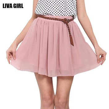 New Fashion 2016 Summer Skirts Sexy Mini Pleated Skirt Solid Color High Waist Stretch Cute Chiffon Skirts Womens Drop Shipping