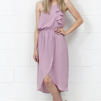 One Shoulder Ruffle Wrap Dress {Mauve}
