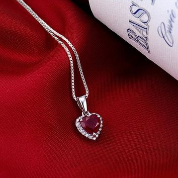 New! Heart 6mm Solid 14K White Gold Diamond Red Ruby Pendant Hot Sale Fine Jewelry for Girlfriend Anniversary Gift