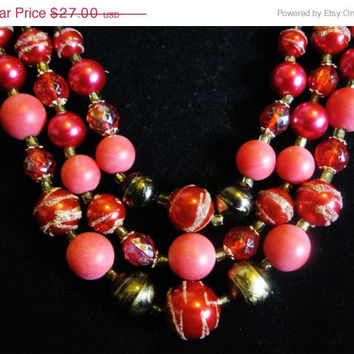 Signed JAPAN Rasberry Pink & Gold Swirl Triple Strand Necklace 1950s Hollywood Regency Designer Costume Jewelry