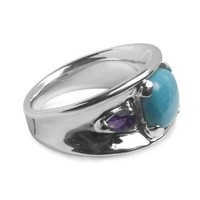 Sterling Silver Sleeping Beauty Turquoise Amethyst Ring