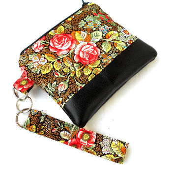 Victorian Roses Wristlet Clutch - Floral Gold Faux Leather Zipper Pouch