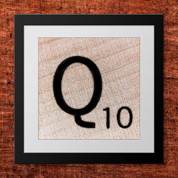 DIY Wall Art, Letter Q-Personalized Word Art, Instant Download, Printable Letter, Scrabble Wall Art, Alphabet Art, Downloadable Image, Print