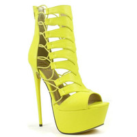 Vicky-01 High #Heel #Shoes #Gladiator Yellow Strappy