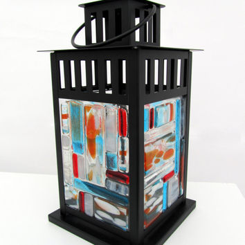 Turquoise and Tangerine Mosaic Lantern with Candle