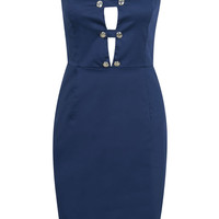 Navy Strapless Cut Out Detail Button Front Midi Bodycon Dress