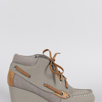 Bamboo Nubuck Boat Wedge Booties
