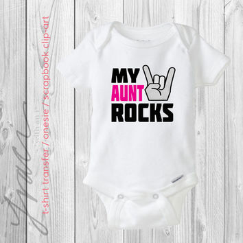 "INSTANT DOWNLOAD - ""my aunt rocks"" - Printable Iron on T-Shirt Transfer  / Scrapbook Clip-Art / Design"