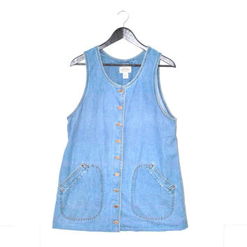 button up DENIM dress early 90s GRUNGE vintage jean dress light denim MINIMALIST jumper medium
