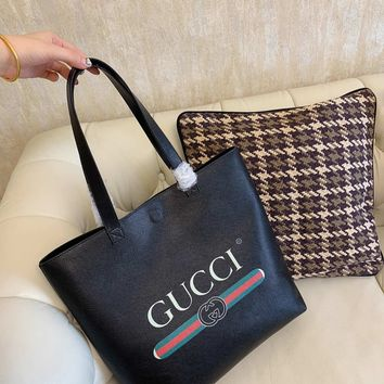 HCXX 19Oct 093 Gucci Classic Fashion Print Handle Tote Casual Large Capacity Shopper Bag 36-34