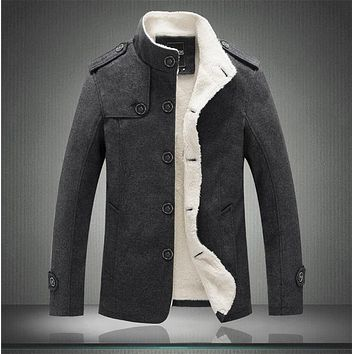 Men's Winter Casual High-Grade Wool Jacket Stand Collar Plus Velvet Coat Warm Thick Outwear M-3XL