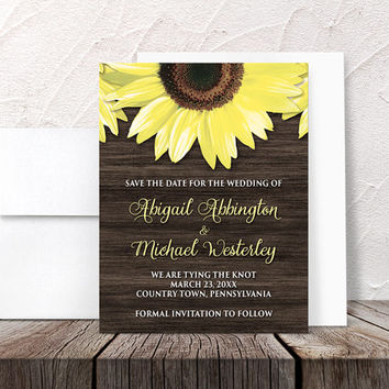 Sunflower Save the Date Cards - Rustic Country Wood Floral - Rustic Sunflower Yellow Brown - Printed Flat Cards