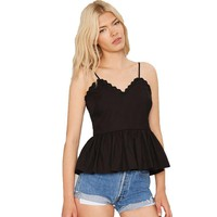 New Woman Lace Trimed V Neck Strappy Strap Peplum Top