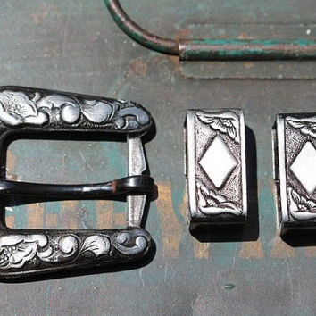 Vintage1950's Costume Grade Wesern Cowboy Ranger  Belt Buckle with Matching Guides