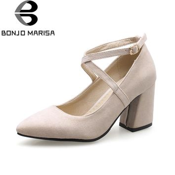BONJOMARISA Women's Ankle Strap High Heel Office Shoes Woman Pointed Toe Less Pumps Big Size 32-46