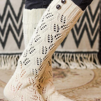Warm and Cozy Leaf knit Boot Socks