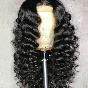 250% Density Loose Wave Lace Front Human Hair Wigs Brazilian Remy Hair Full 13X4 Lace Wig Bleaches Knots 8-24 Inches