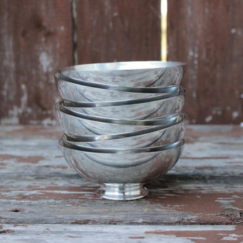 Vintage Set of Six (6) Sheffield Silver Co. Silverplated Bowls | EPC Electroplated Copper | USA | DIY Wedding Decor & Housewarming Gifts