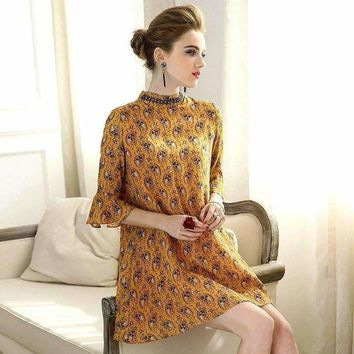 DCCKON3 stand collar beaded cashew flower printed dress yellow red speaker sleeve loose luxury silk dress