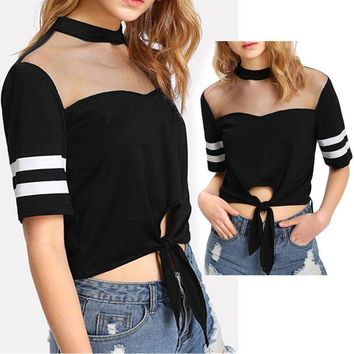 Womens Short Sleeve Striped Blouse Tops Bandage Mesh Perspective Tops T-Shirt