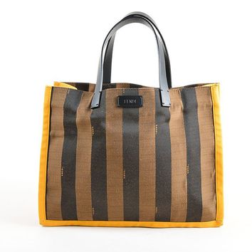 "Brown and Yellow Canvas Striped ""Pequin"" Small Shopping Tote Bag"