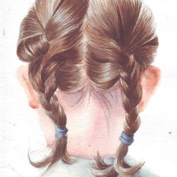 HM096 Original art watercolor painting School Girl's Pigtail Braids by Helga McLeod