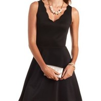 Scalloped V-Neck Sleeveless Skater Dress by Charlotte Russe - Black