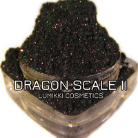 DRAGON SCALE II Dark Jewel Toned Emerald Green Iridescent Pink & Purple Glitters Eyeshadow Pigment Lumikki Cosmetics 5 Gram Jar