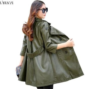 LXUNYI Autumn 2017 Woman Leather Coats Plus Size Ladies Fashion Temperament Loose Thin leather jacket Female Belt Women Trench