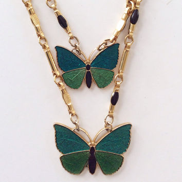 Vintage Napier Butterfly Necklace / Enamel and Gold Double Chain / Vintage Costume Jewelry / Bug Jewelry / Nature / Pendant Necklace