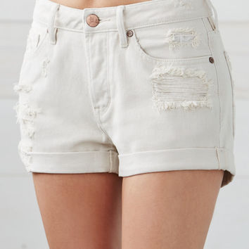 Bullhead Denim Co. Orchid Blossom Ripped Cuffed Denim Girlfriend Shorts at PacSun.com
