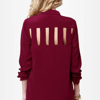 Back on Track Burgundy Button-Up Top