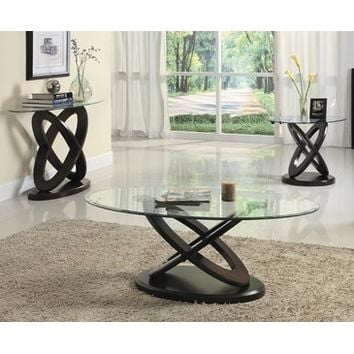 Homelegance Firth II 3 Piece Oval Glass Coffee Table Set in Deep Cherry