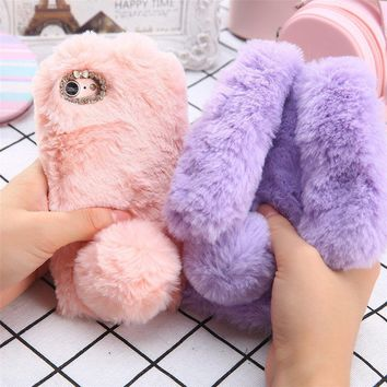Cute Bunny Rabbit Plush Fur Fuzzy Fluffy Soft Phone Case for iPhone 7 6 6s Plus