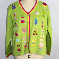 Storybook Knits Cardigan Sweater Size Large for HSN Beach Theme