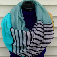 Mint infinity scarf - color block scarf - stripe scarf - women - teen - loop scarf