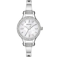 Bulova Ladies Crystal - Stainless Case and Bracelet - White Mother of Pearl Dial
