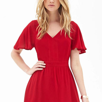 Red Cut Out Back V-Neck Short Sleeve Dress