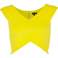 River Island Womens Yellow wrap crop top