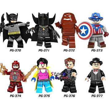 Single Super Heroes X-Men Clayface Flash Panther Batman Cowboys America building blocks models bricks toys for children kits