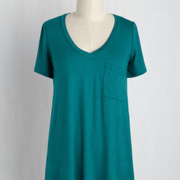 Yours Chill the End Top in Teal | Mod Retro Vintage Short Sleeve Shirts | ModCloth.com