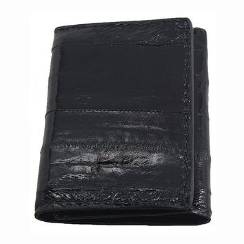 Genuine Eel Skin Trifold Wallet in Black - Real Eel Leather - Free Shipping to USA