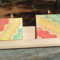 Yellow Red Green Stripes Mother Daughter Wood Tile Pendant Set